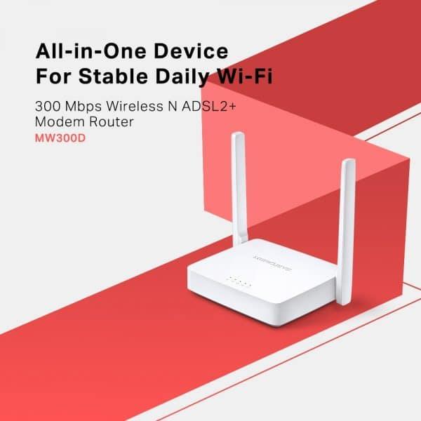 مودم روتر بیسیم ADSL مدل MERCUSYS MW300D